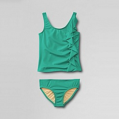 Lands' End - Green girls' bohemian beach cascading ruffle tankini set