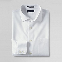 Lands' End - White men's traditional fit spread collar dress shirt