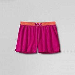Lands' End - Pink girls plain contrast waistband knit shorts