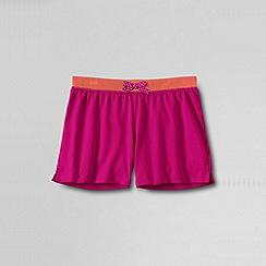 Lands' End - Pink girls plain contrast waistband knit shorts