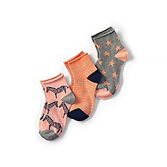 Lands' End - Multi school uniform girls novelty socks (3-pack)