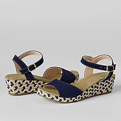 Lands' End - Blue women's reese low wedge sandals