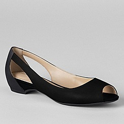 Lands' End - Black women's wide blaine open toe ballet shoes