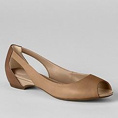 Lands' End - Beige women's wide blaine open toe ballet shoes