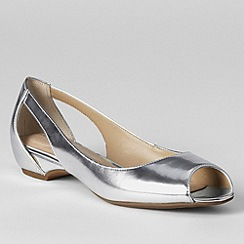 Lands' End - Grey women's wide blaine open toe ballet shoes