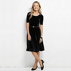 Lands' End - Black women's regular stretch velvet boatneck dress