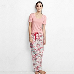 Lands' End - Pink women's cotton/modal short sleeve pyjama top