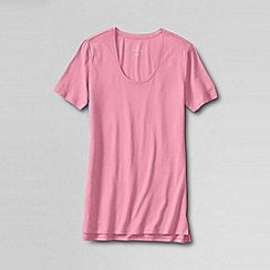 Lands' End - Pink regular cotton/modal short sleeve pyjama top