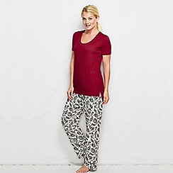 Lands' End - Red women's regular cotton/modal short sleeve pyjama top