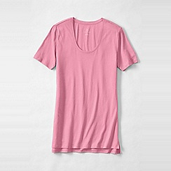 Lands' End - Pink petite cotton/modal short sleeve pyjama top