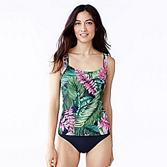 Lands' End - Multi women's beach living scoop neck tankini top - leaf design