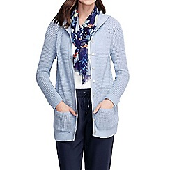 Lands' End - Blue women's lofty blend waffle hooded cardigan