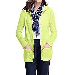 Lands' End - Yellow women's lofty blend waffle hooded cardigan