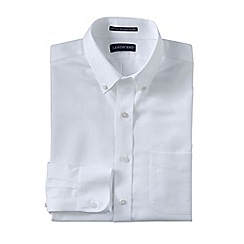 Lands' End - White men's slim fit easy-iron button-down supima oxford shirt