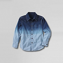 Lands' End - Blue little boys' long sleeve novelty chambray shirt