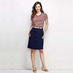 Lands' End - Blue women's woven button front chino skirt