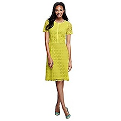 Lands' End - Yellow woven short sleeve lace shift dress