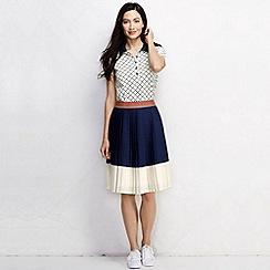 Lands' End - Blue women's regular pleated colourblock skirt