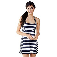 Lands' End - Blue beach living halter dresskini top - colourblock stripe