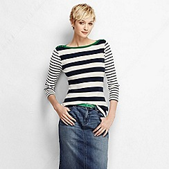 Lands' End - Blue women's three quarter sleeve boatneck mixed stripe ribtop