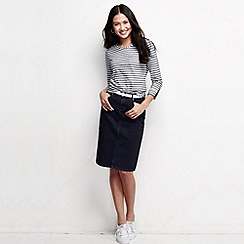 Lands' End - Blue women's roll sleeve striped jacquard tee