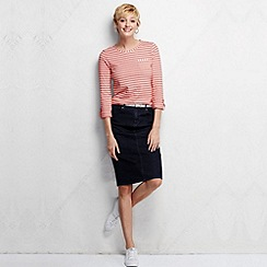 Lands' End - Pink women's roll sleeve striped jacquard tee