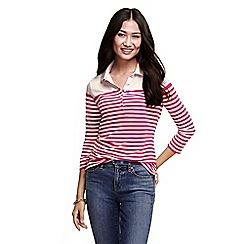 Lands' End - Pink women's three quarter sleeve mixed stripe pique polo shirt