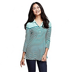Lands' End - Blue women's three quarter sleeve mixed stripe pique polo shirt