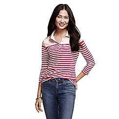 Lands' End - Pink women's three quarter sleeve mixed stripe pique polo shirt