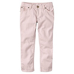Lands' End - Pink girls' 5-pocket coloured denim capri trousers
