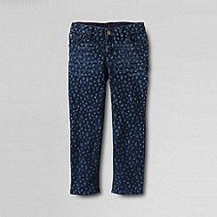 Lands' End - Blue girls' 5-pocket patterned denim capri trousers