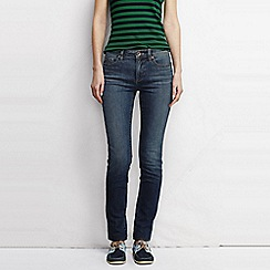 Lands' End - Blue women's mid rise slim fit medium wash jeans