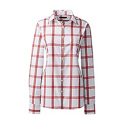 Lands' End - Red regular patterned supima non iron shirt