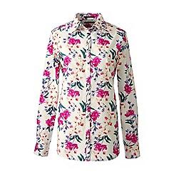 Lands' End - Cream petite patterned supima reg non iron shirt