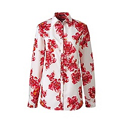 Lands' End - Red petite patterned supima reg non iron shirt