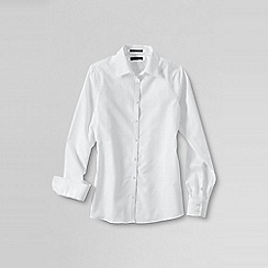 Lands' End - White women's patterned supima reg non iron shirt