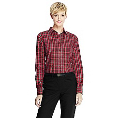 Lands' End - Red women's patterned supima reg non iron shirt