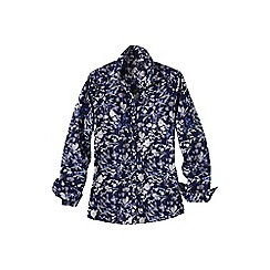 Lands' End - Blue patterned supima reg non iron shirt