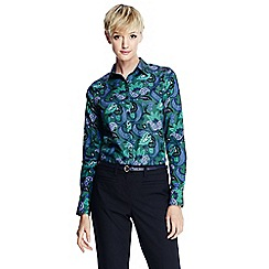 Lands' End - Blue women's patterned supima reg non iron shirt
