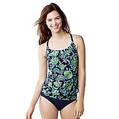 Lands' End - Blue women's beach living d-cup floral blouson tankini top