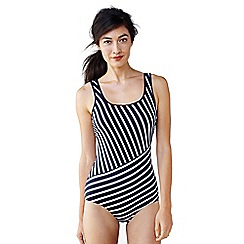 Lands' End - Blue women's tugless striped swimsuit