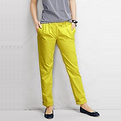 Lands' End - Yellow women's regular low rise pleated chinos