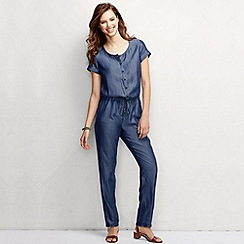 Lands' End - Blue women's regular starfish short sleeve tencel jumpsuit