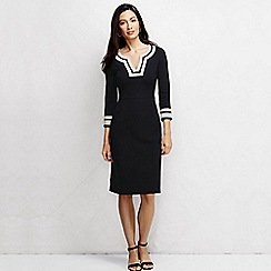 Lands' End - Black women's three quarter sleeve grosgrain shift dress