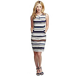 Lands' End - Cream women's regular stripe ottoman keyhole shift dress