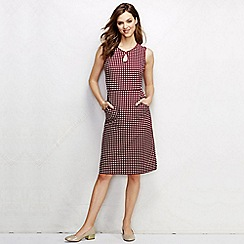 Lands' End - Red women's regular piped keyhole patterned shift dress