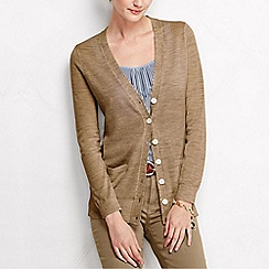 Lands' End - Beige women's merino long v neck cardigan