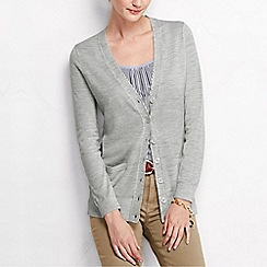 Lands' End - Grey women's merino long v neck cardigan