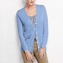 Lands' End - Blue women's merino long v neck cardigan