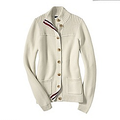 Lands' End - White women's drifter  polo neck cardigan